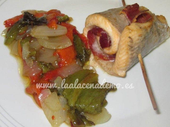 Trucha con jamón al horno