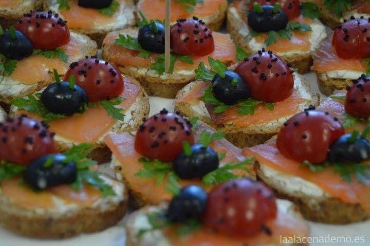 Mariquitas de queso y salmón