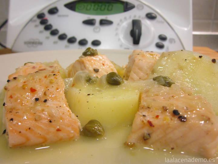 Salmón con salsa de alcaparras con Thermomix