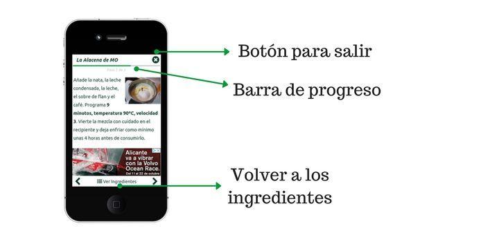 Barra de progreso, volver a ingredientes y botón para salir del modo guiado